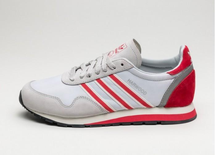 Мужские кроссовки adidas Harwood SPZL (Clear Grey / Ray Red / Off White) | Интернет-магазин Sole