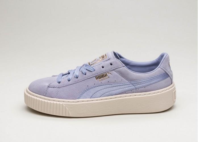 Женские кроссовки Puma Suede Platform Mono Satin (Sweet Lavender / Whisper White / Puma Team Gold) - Women - Sneaker | Интернет-магазин Sole