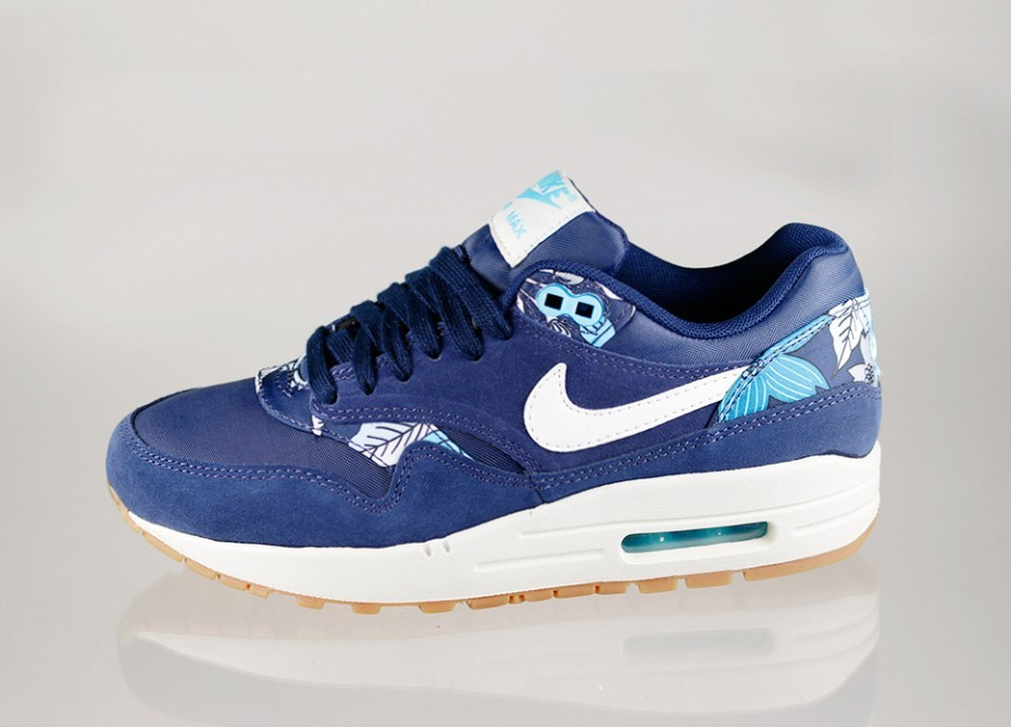 Женские кроссовки Nike Wmns Air Max 1 Print *Aloha Pack* (Mid Navy Sail Mid Navy Tide Pool Blue)