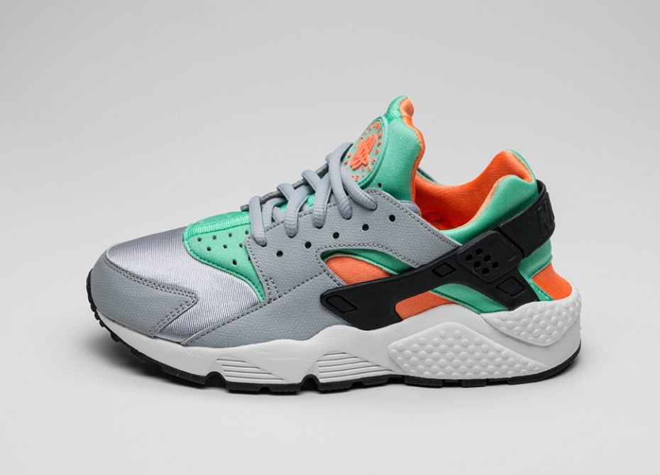 abf396623ad9 Женские кроссовки Nike Wmns Air Huarache Run (Wolf Grey   Green Glow - Total  Orange