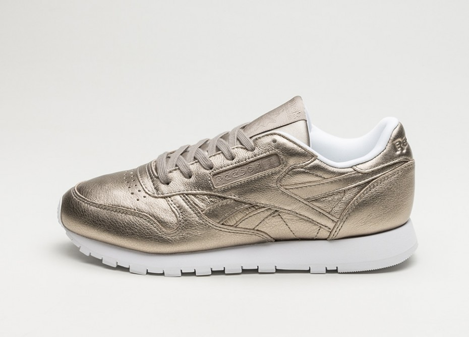 38e079c647d Женские кроссовки Reebok Classic Leather Melted Metals (Pearl Metallic   Grey  Gold   White)