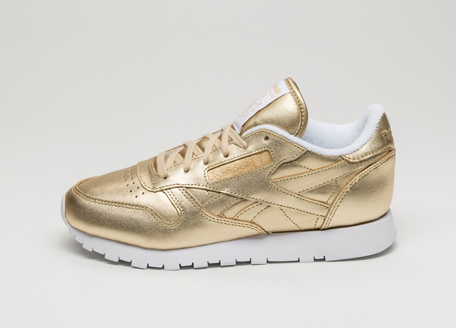 Женские кроссовки Reebok x Face Stockholm Classic Leather Spirit (Sensation  Gold   White)  ed7f1be5207ed