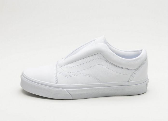 Женские кроссовки Vans Old Skool Laceless DX *Leather* (True White) - Women - Sneaker   Интернет-магазин Sole