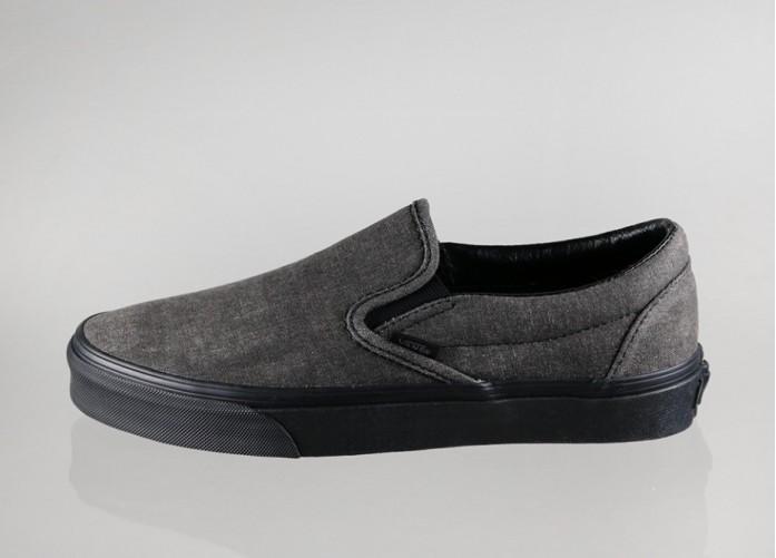 Женские кроссовки Vans Classic Slip-On *Washed* (Black)   Интернет-магазин Sole