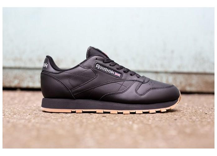 Мужские кроссовки Reebok Classic Leather - Black/Gum | Интернет-магазин Sole