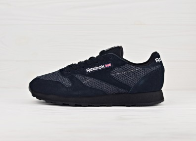 Мужские кроссовки Reebok Classic Leather Knit - Black/White