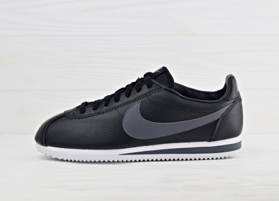 Кроссовки Nike Classic Cortez Leather - Black/Dark Grey - White
