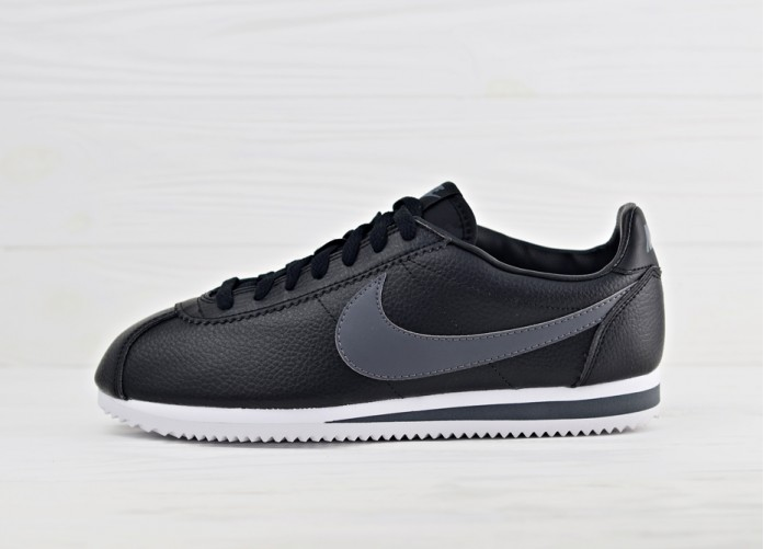 Кроссовки Nike Classic Cortez Leather - Black/Dark Grey - White | Интернет-магазин Sole