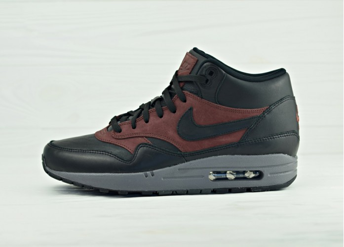 Мужские кроссовки Nike Air Max 1 Mid Deluxe QS - Black/Black-Barkroot Brown | Интернет-магазин Sole