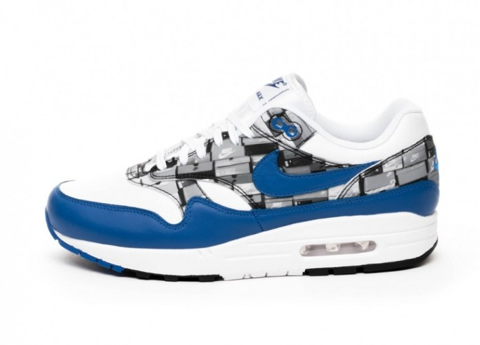 "Кроссовки Nike x Atmos Air Max 1 Print ""We Love Nike"" - White / Game Royal - Neutral Grey | Интернет-магазин Sole"