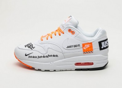 "Кроссовки Nike Wmns Air Max 1 LX ""Just Do It"" - White / Black - Total Orange"