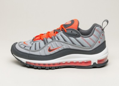 Кроссовки Nike Air Max 98 - Wolf Grey / Dark Grey - Total Crimson