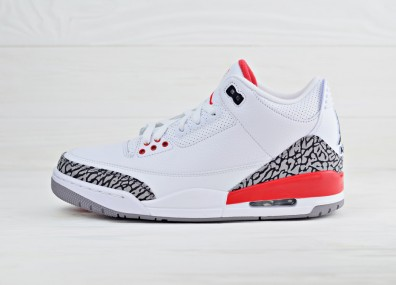 "Air Jordan 3 ""Katrina"" - White/Fire Red-Cement Grey"