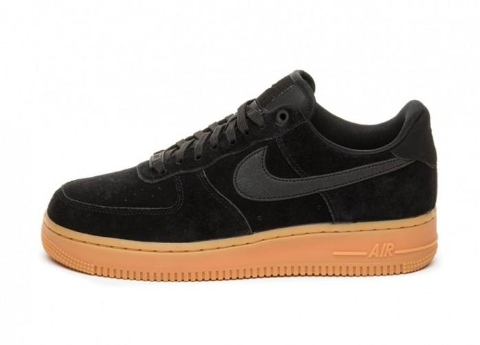 Кроссовки Nike Air Force 1 '07 LV8 Suede (Black / Black - Gum Medium Brown - Ivory) | Интернет-магазин Sole