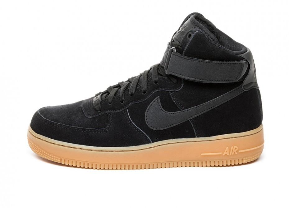 ea4679c2e235 Кроссовки Nike Air Force 1 Hi  07 LV8 Suede (Black   Black - Gum ...