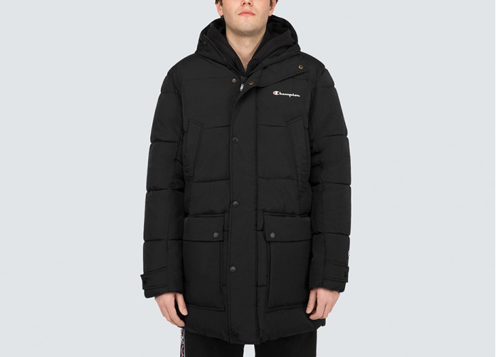 Парка Champion Padded Longline Hooded Popper Jacket - Black | Интернет-магазин Sole