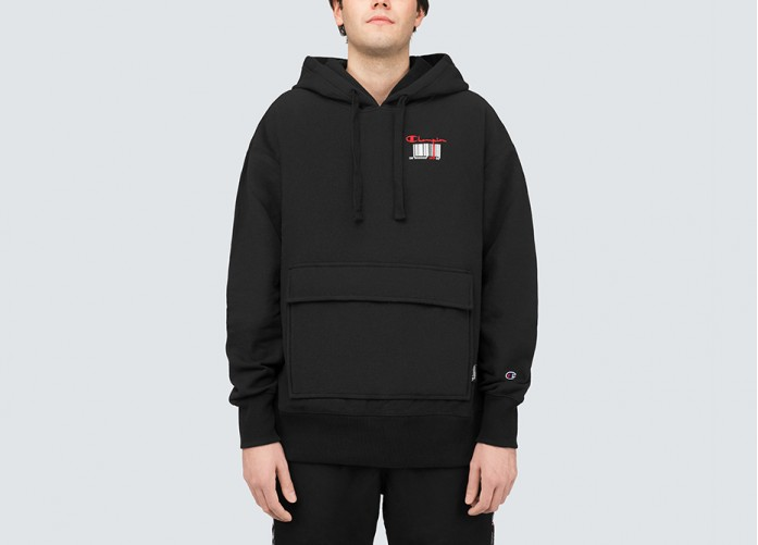 Худи Champion BarCode Double Hood Sweatshirt - Black | Интернет-магазин Sole