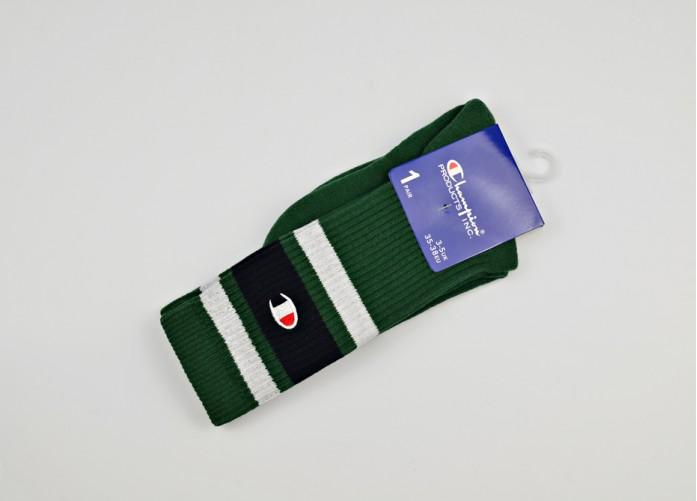 Носки Champion Stripe Ribbed Crew Socks - Green | Интернет-магазин Sole