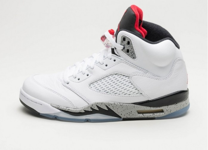 Мужские кроссовки Nike Air Jordan 5 Retro *White Cement* (White / University Red - Black - Matte Silver) | Интернет-магазин Sole