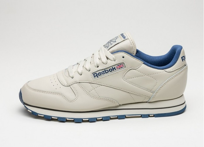 Мужские кроссовки Reebok Classic Leather (Ecru / Navy) | Интернет-магазин Sole