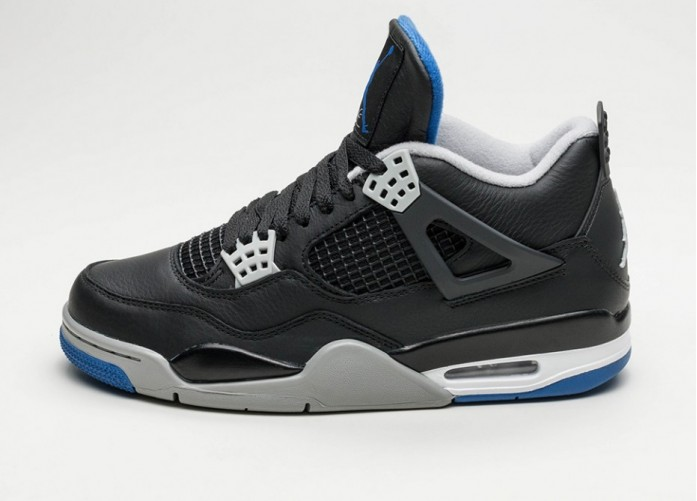 Мужские кроссовки Nike Air Jordan 4 Retro (Black / Game Royal - Matte Silver - White) | Интернет-магазин Sole