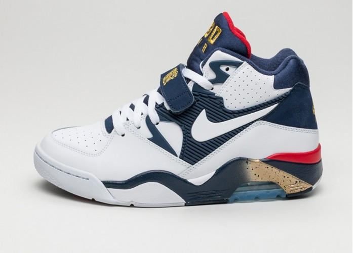 Мужские кроссовки Nike Air Force 180 *Olympic* (White / White - Midnight Navy - Metallic Gold)   Интернет-магазин Sole