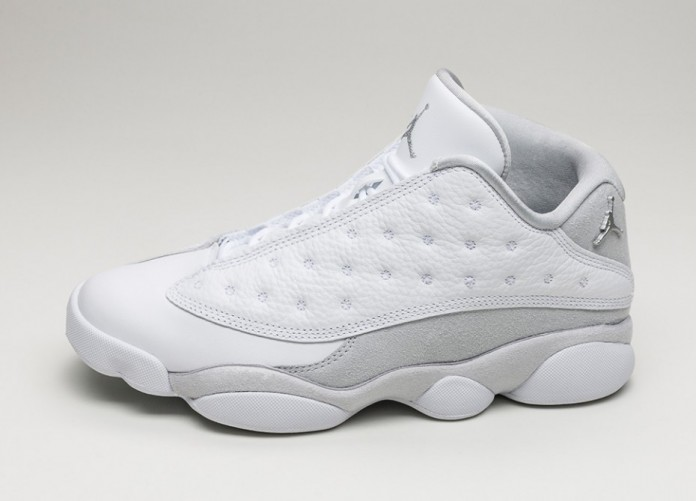 Мужские кроссовки Nike Air Jordan 13 Retro Low (White / Metallic Silver - Pure Platinum) | Интернет-магазин Sole