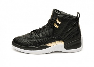 Кроссовки Nike Wmns Air Jordan 12 Retro *Snakeskin* (Black / Metallic Gold - White)