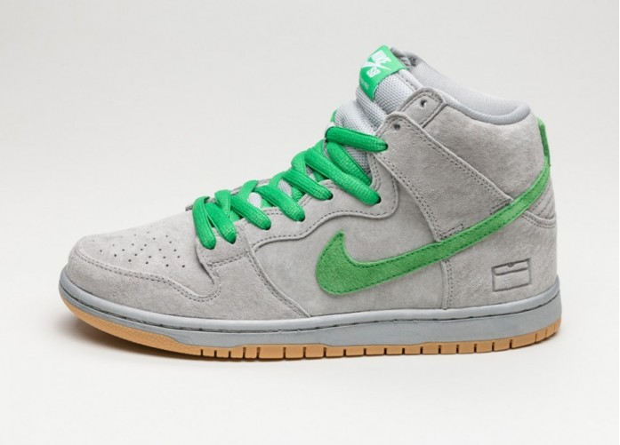 Мужские кроссовки Nike SB Dunk High PRM *Gray Box* (Metallic Silver / Hyper Verde - Gum Yellow) | Интернет-магазин Sole