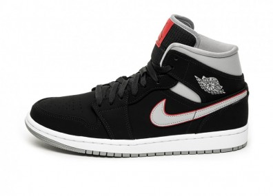 Кроссовки Nike Air Jordan 1 Mid (Black / Particle Grey - White - Gym Red)