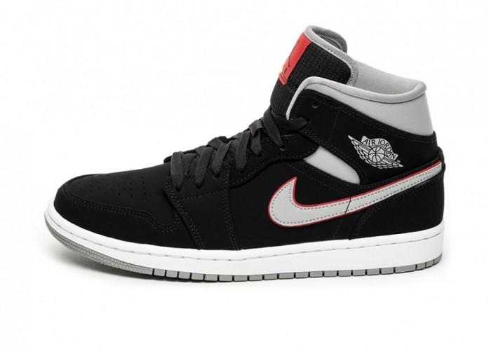 Кроссовки Nike Air Jordan 1 Mid (Black / Particle Grey - White - Gym Red) | Интернет-магазин Sole