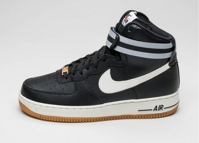 Мужские кроссовки Nike Air Force 1 High \'07 (Black / Sail - Wolf Grey - Gum Light Brown) | Интернет-магазин Sole