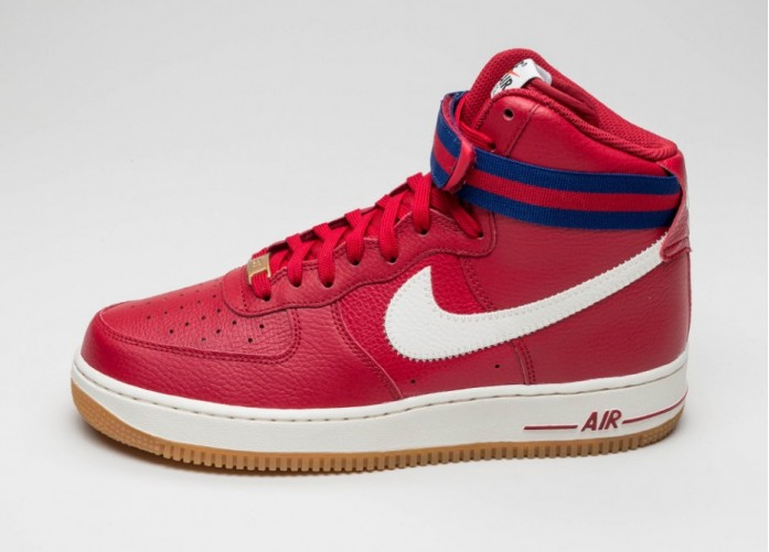 Мужские кроссовки Nike Air Force 1 High \'07 (Gym Red / Sail - Deep Royal Blue - Gum Light Brown) | Интернет-магазин Sole