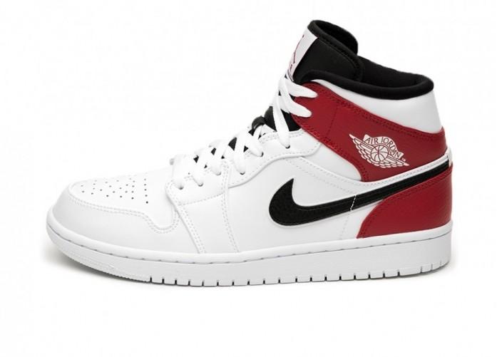 Кроссовки Nike Air Jordan 1 Mid (White / Black - Gym Red) | Интернет-магазин Sole