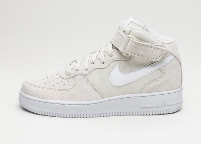 Мужские кроссовки Nike Air Force 1 Mid \'07 (Light Bone / White - White) | Интернет-магазин Sole