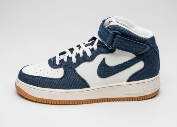 Мужские кроссовки Nike Air Force 1 Mid \'07 (Obsidian / Obsidian - Sail - Gum Light Brown) | Интернет-магазин Sole