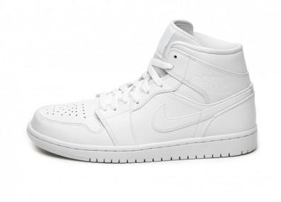 Кроссовки Nike Air Jordan 1 Mid (White / White - White)