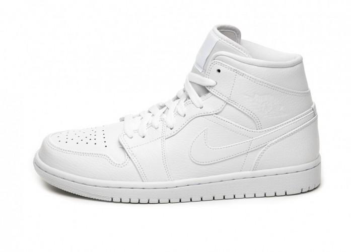 Кроссовки Nike Air Jordan 1 Mid (White / White - White) | Интернет-магазин Sole