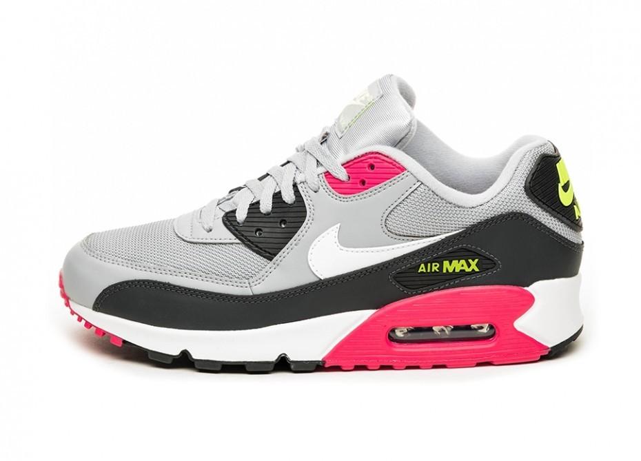 c2cfc4fe Кроссовки Nike Air Max 90 Essential (Wolf Grey / White - Rush Pink - Volt
