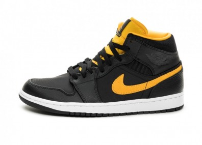 Кроссовки Nike Air Jordan 1 Mid SE (Black / University Gold - White)