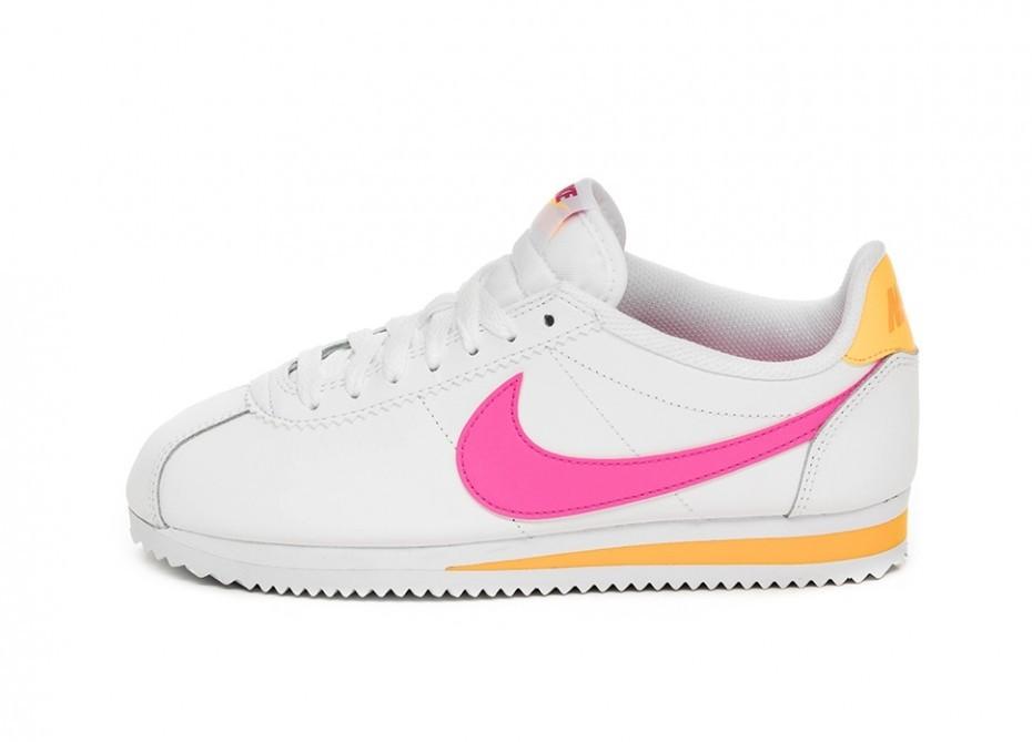 5303ee23 Кроссовки Nike Wmns Classic Cortez Leather (White / Laser Fuchsia - Laser  Orange)