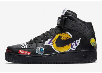 Кроссовки Supreme x Nike Air Force 1 Mid - Black/Black
