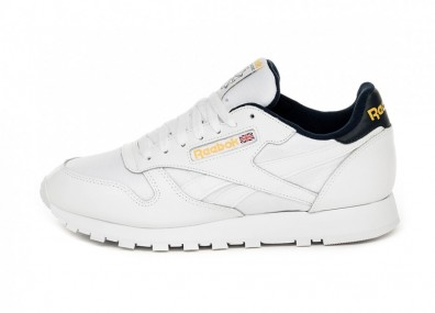 Кроссовки Reebok Classic Leather MU (White / Collegiate Navy)