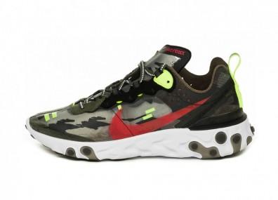 Кроссовки Nike React Element 87 (Medium Olive / Bright Crimson - Black - Volt)