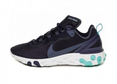 Кроссовки Nike React Element 55 (Dark Obsidian / Monsoon Blue - White)