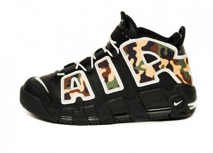 Кроссовки Nike Air More Uptempo '96 QS SU19 (Black / Sail - Light British Tan - Asparagus) | Интернет-магазин Sole