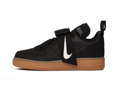 Nike Air Force 1 Utility - Black / White-Gum Med Brown