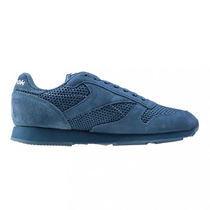 Мужские кроссовки Reebok Classic Leather Knit - Brave Blue/White | Интернет-магазин Sole