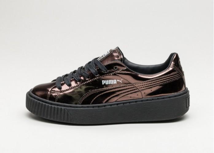 Мужские кроссовки Puma Basket Platform Metallic (Puma Black / Puma Black / Puma Black) | Интернет-магазин Sole