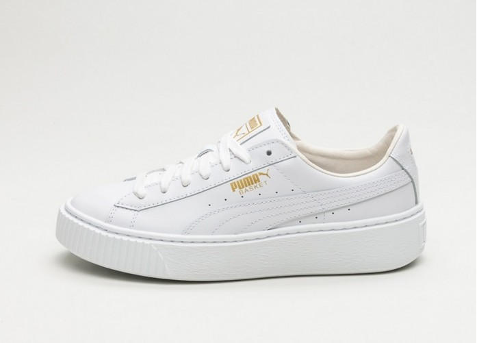 Мужские кроссовки Puma Basket Platform Core (Puma White - Gold) | Интернет-магазин Sole